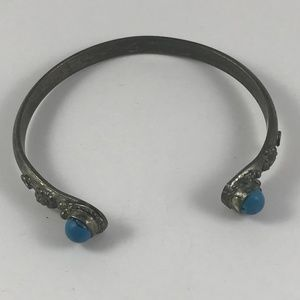 Vintage Silver and Turquoise Bangle Bracelet